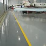 Airplane hangar floor coatings
